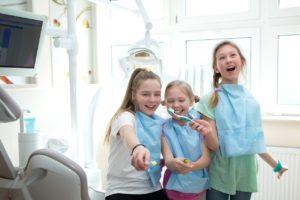 Three children at dentist